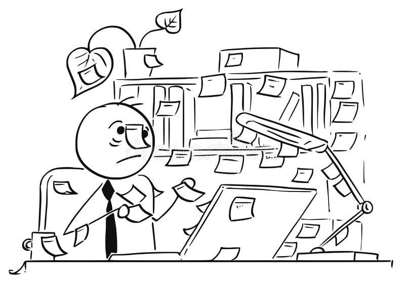 L'illustrazione del fumetto dell'impiegato di concetto con il bastone nota Everywher illustrazione vettoriale