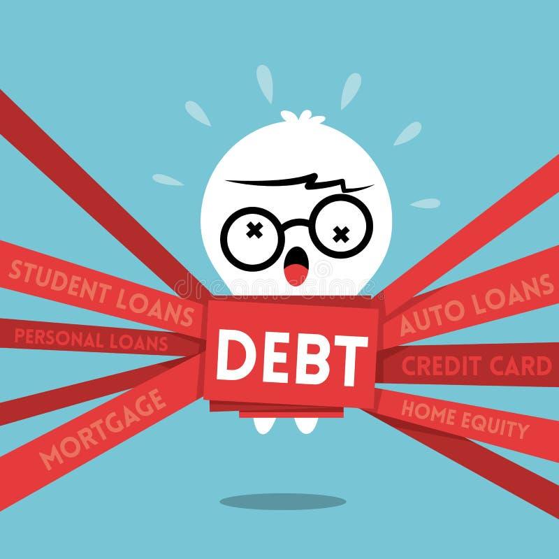L'illustrazione del fumetto di concetto di debito con un uomo ha avvolto nella burocrazia royalty illustrazione gratis