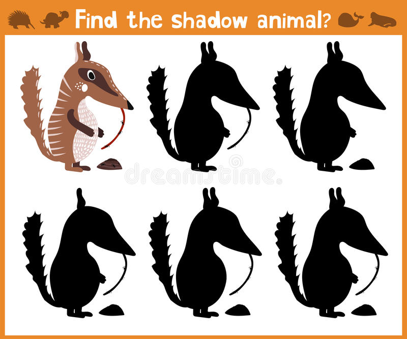 L'illustrazione del fumetto di istruzione troverà il formichiere appropriato dell'animale della siluetta dell'ombra Gioco di corr illustrazione vettoriale