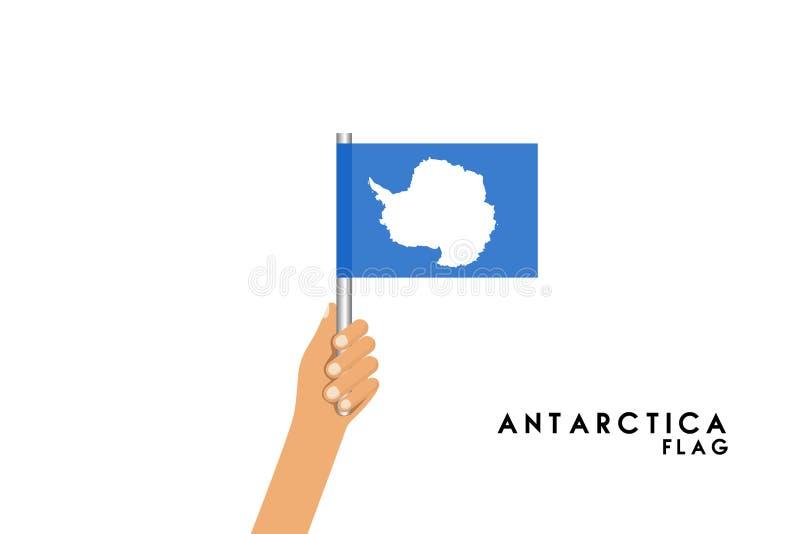 L'illustrazione del fumetto di vettore delle mani umane tiene la bandiera dell'Antartide illustrazione vettoriale