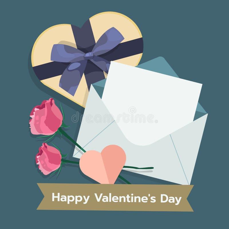 L'illustrazione del giorno di biglietti di S. Valentino con posta, giftbox, è aumentato Vettore piano royalty illustrazione gratis