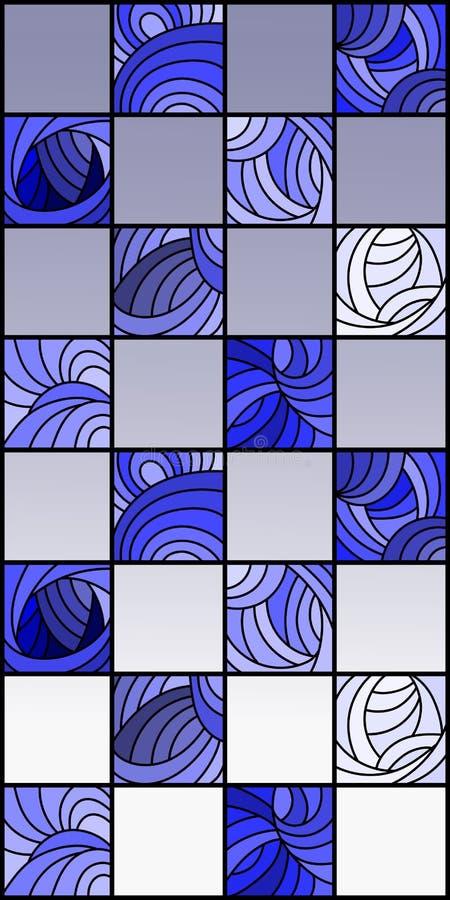 L'illustrazione del vetro macchiato con i quadrati ha sistemato in un modello della scacchiera, gamma blu illustrazione di stock