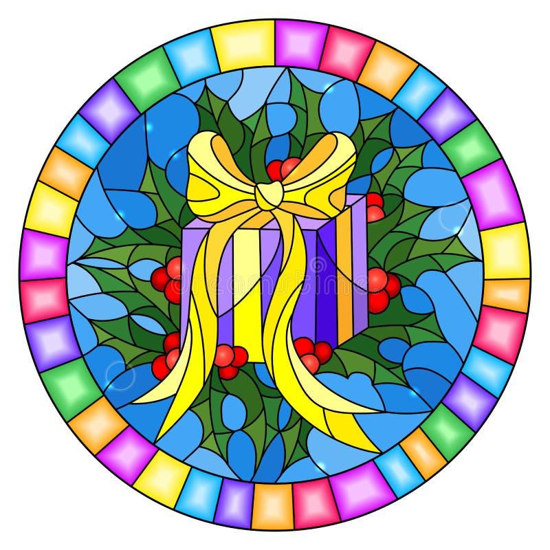 L'illustrazione del vetro macchiato con una scatola con un regalo, un nastro e un agrifoglio si ramifica su un fondo blu, cornice royalty illustrazione gratis