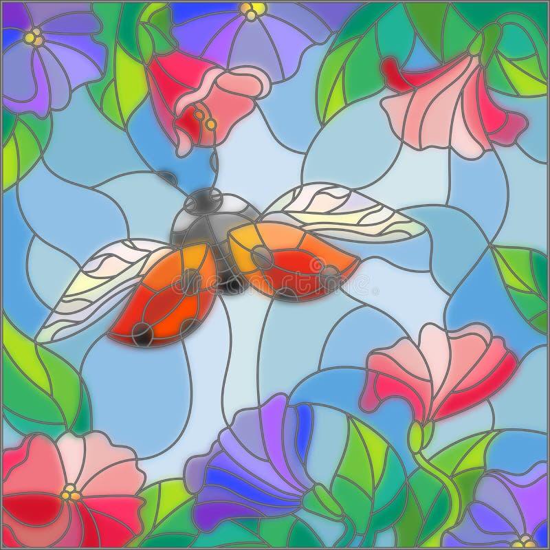 L'illustrazione del vetro macchiato di una coccinella su un fondo del cielo e di fioritura fiorisce illustrazione vettoriale