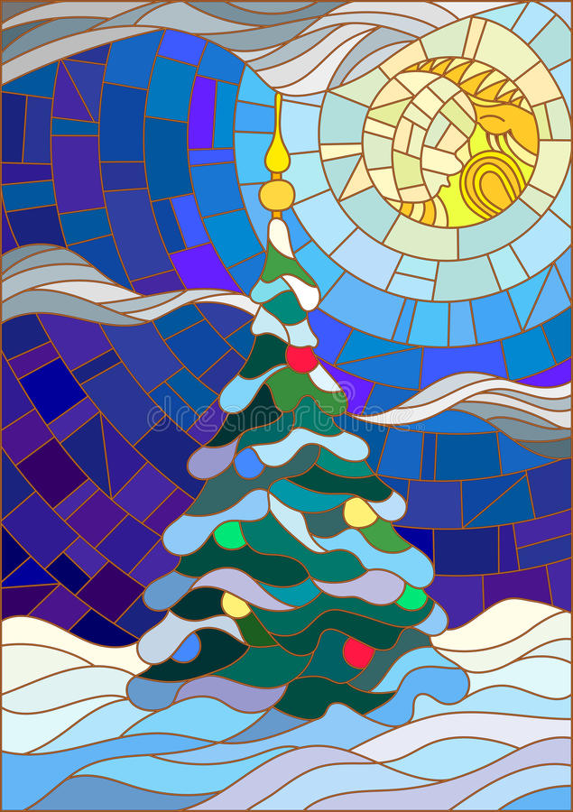 L'illustrazione del vetro macchiato ha decorato l'albero di Natale sui precedenti di neve e di cielo notturno con la luna royalty illustrazione gratis
