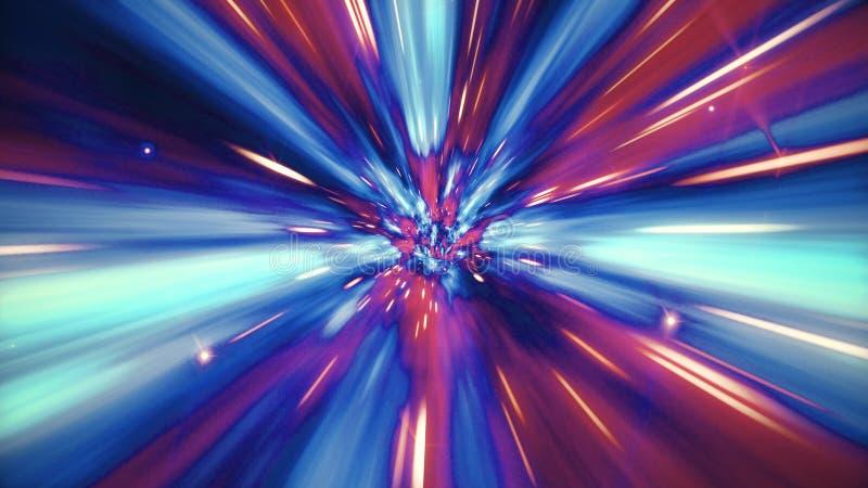 L'illustrazione del viaggio interstellare attraverso un buco del verme blu ha riempito di stelle illustrazione vettoriale