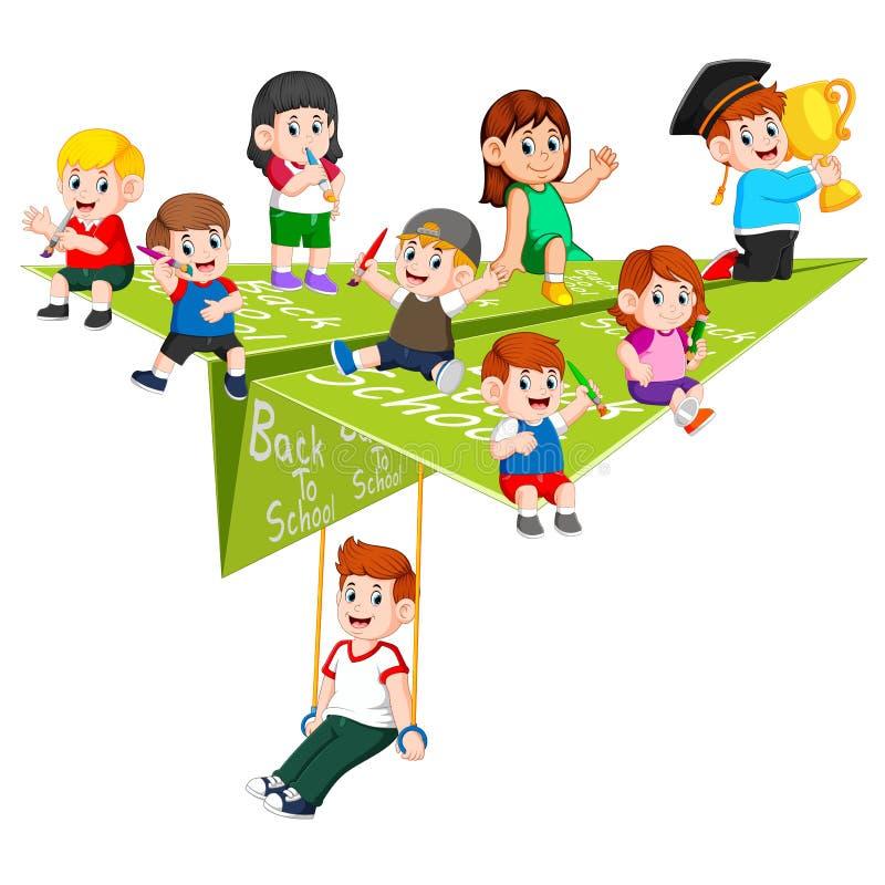 L'illustrazione dell'attività dello studente nell'aereo di carta su  royalty illustrazione gratis