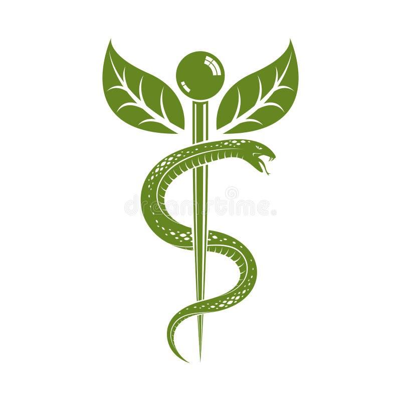 L'illustrazione dell'estratto di vettore di Aesculapius ha creato per mezzo dei serpenti e delle foglie verdi, simbolo del caduce illustrazione vettoriale