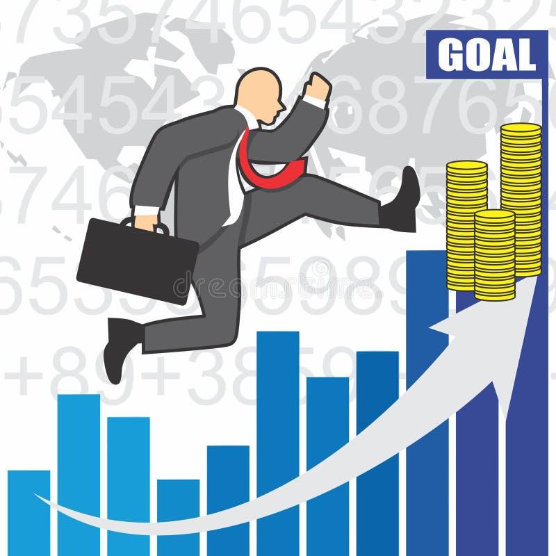 L'illustrazione dell'uomo d'affari va a successo a causa del hardwork immagini stock