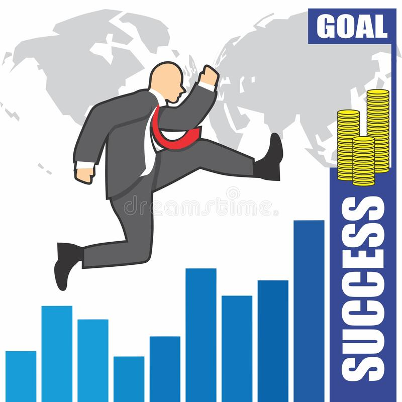 L'illustrazione dell'uomo d'affari va a successo a causa del hardwork immagine stock libera da diritti