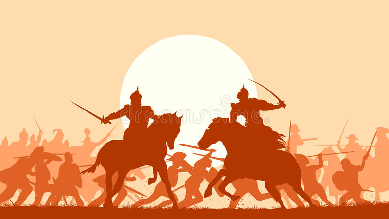 L'illustrazione della battaglia medievale con una lotta di due ha montato il warrio royalty illustrazione gratis