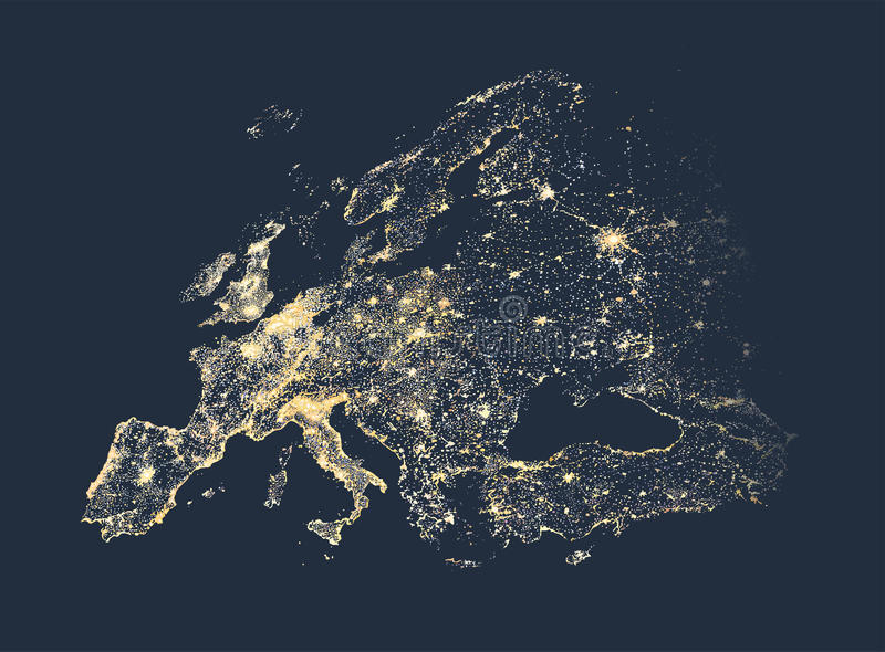 L'illustrazione della città e della comunicazione di Europa accende la mappa royalty illustrazione gratis