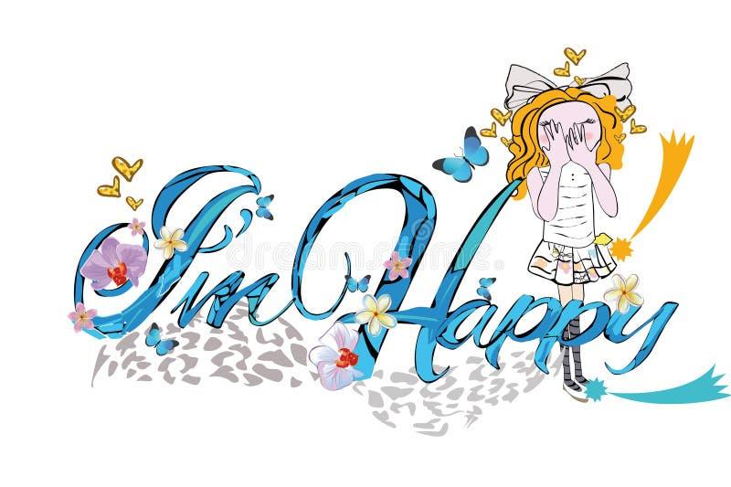 L'illustrazione della maglietta di vettore di slogan per le piccole signore scherza con una ragazza felice royalty illustrazione gratis