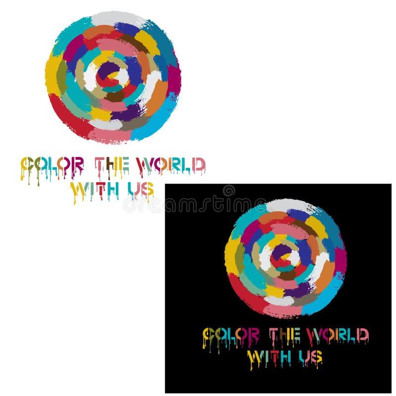 """L'illustrazione della stampa che consiste di un collage delle parole """"colora il mondo con noi """" immagini stock libere da diritti"""
