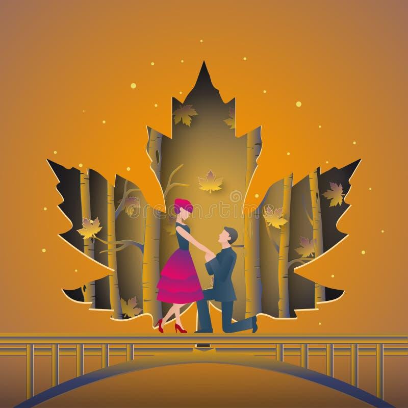 L'illustrazione delle coppie romantiche ha proposta di nozze sul ponte della foresta di autunno Coperto dal taglio della carta de royalty illustrazione gratis
