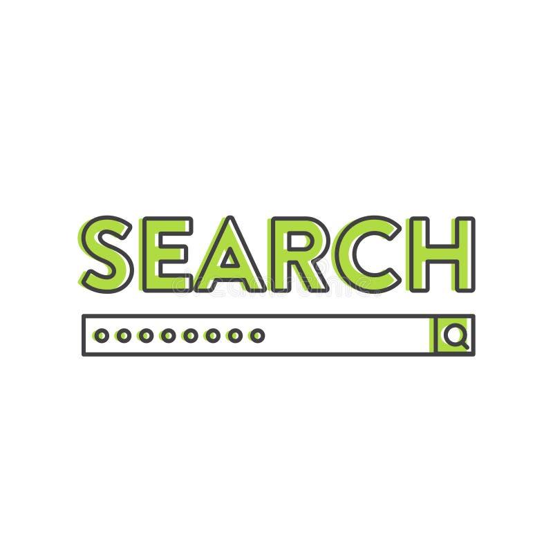 L'illustrazione dello strumento di sviluppo del software applicativo del motore di ricerca, di istruzione e della ricerca, pratic illustrazione di stock