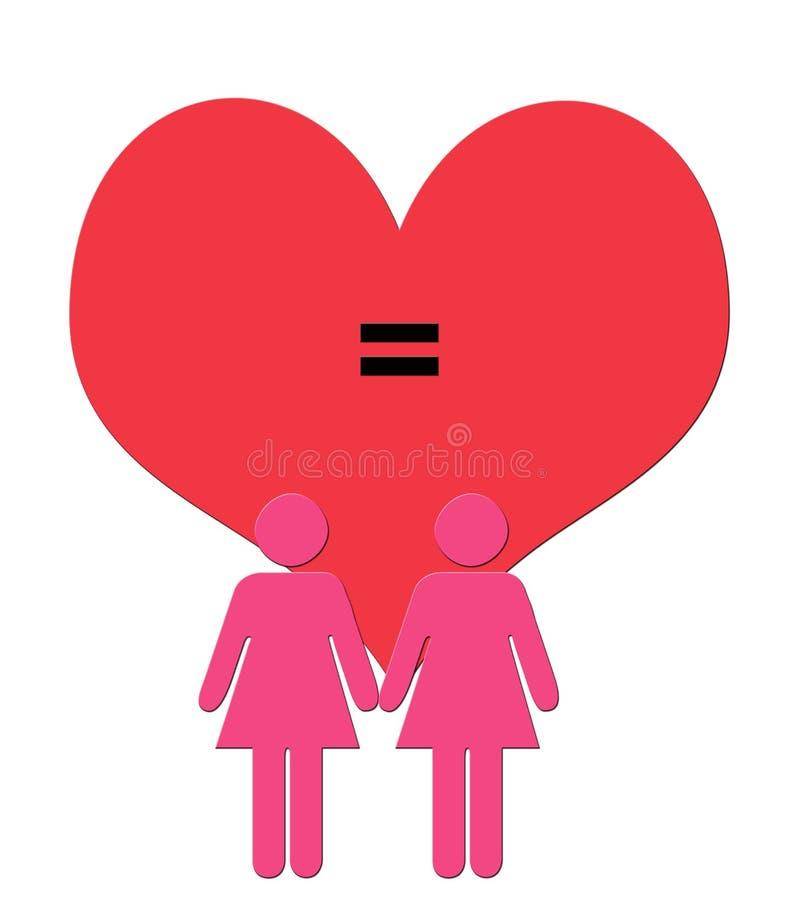 L'illustrazione di arte di Digitahi delle coppie femminili calcola nel colore rosa nella f illustrazione vettoriale