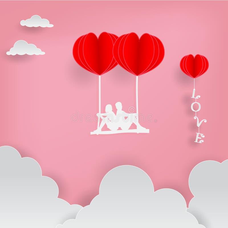 L'illustrazione di carta di vettore di arte degli amanti si siede sulle oscillazioni con i palloni rossi del cuore ed il testo di immagini stock libere da diritti