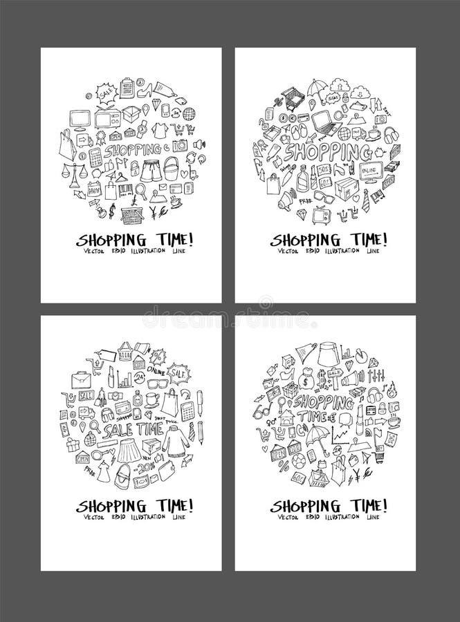 L'illustrazione di compera di scarabocchio circonda la forma sulla carta da parati b della carta a4 illustrazione di stock