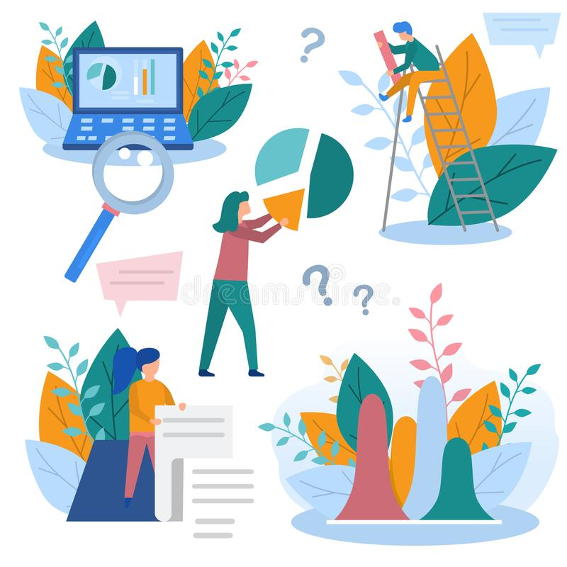 L'illustrazione di concetto degli elementi di analisi dei dati di affari, della riunione di informazioni, dell'analisi dei dati,  royalty illustrazione gratis