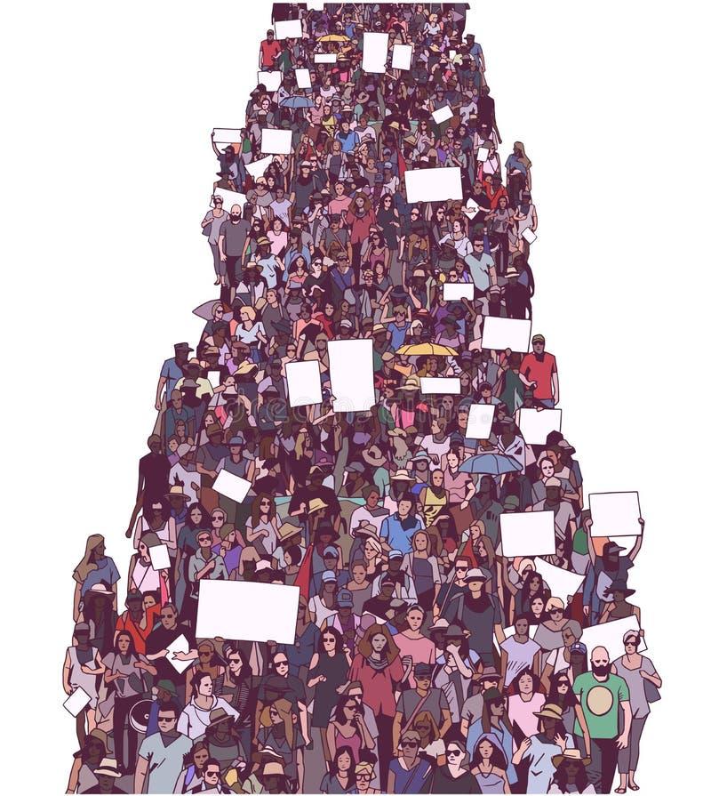 L'illustrazione di grande protesta in marcia della folla con lo spazio in bianco firma le insegne royalty illustrazione gratis