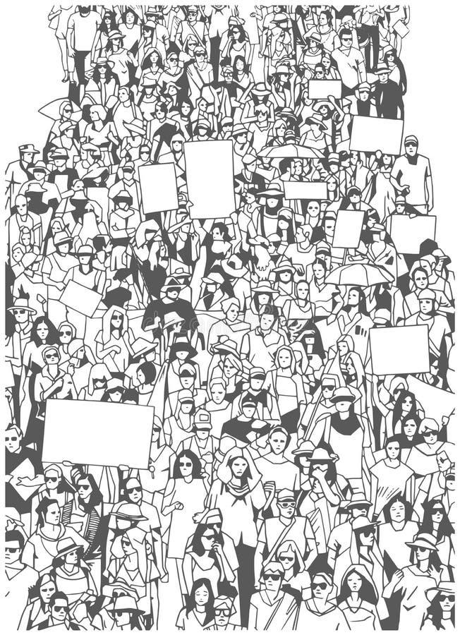 L'illustrazione di grande protesta in marcia della folla con lo spazio in bianco firma le insegne illustrazione vettoriale