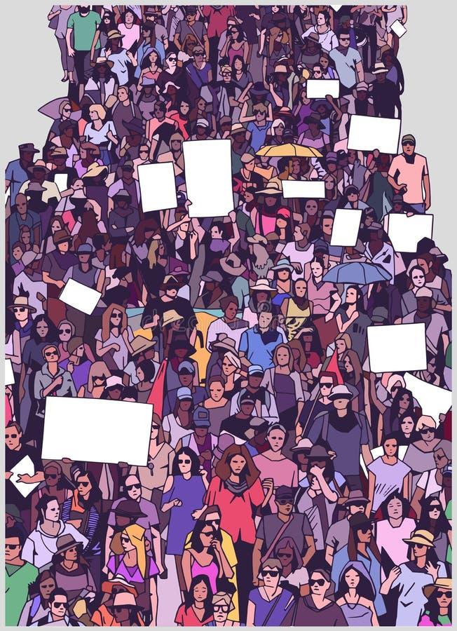 L'illustrazione di grande protesta in marcia della folla con lo spazio in bianco firma le insegne illustrazione di stock