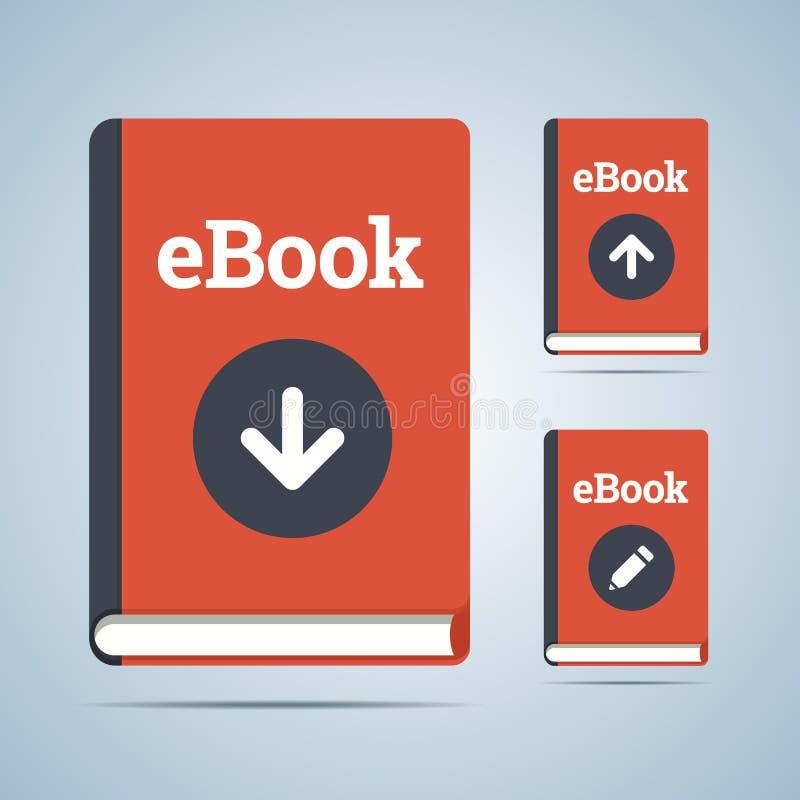 L'illustrazione di libro elettronico nel download, si carica e pubblica royalty illustrazione gratis