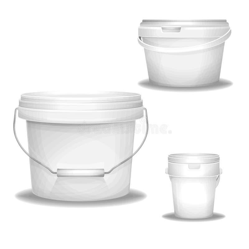 L'illustrazione di plastica del secchio di plastica realistica 3d buckets i contenitori con la maniglia per pittura, mastice o al illustrazione di stock