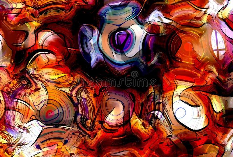 L'illustrazione di progettazione grafica delle note e della nota allinea in struttura del cerchio, concetto di musica illustrazione vettoriale