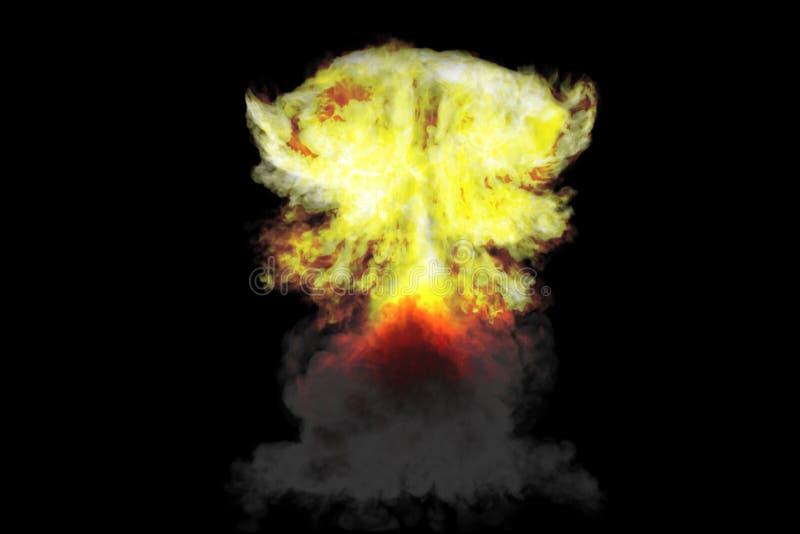 l'illustrazione di scoppio 3D di alta esplosione dettagliata enorme del fungo atomico con gli sguardi del fumo e del fuoco gradis fotografia stock