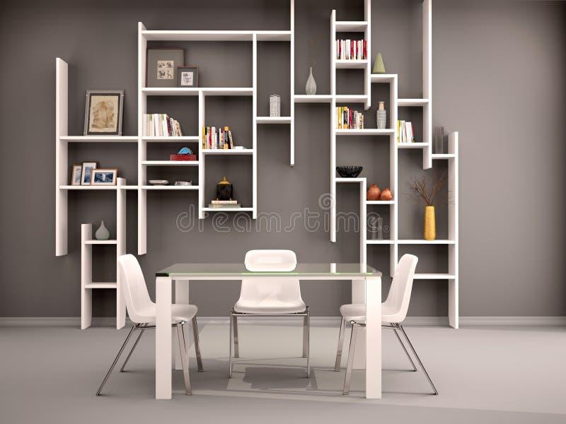 L'illustrazione di stanza scura ha riempito di scaffali bianchi illustrazione di stock