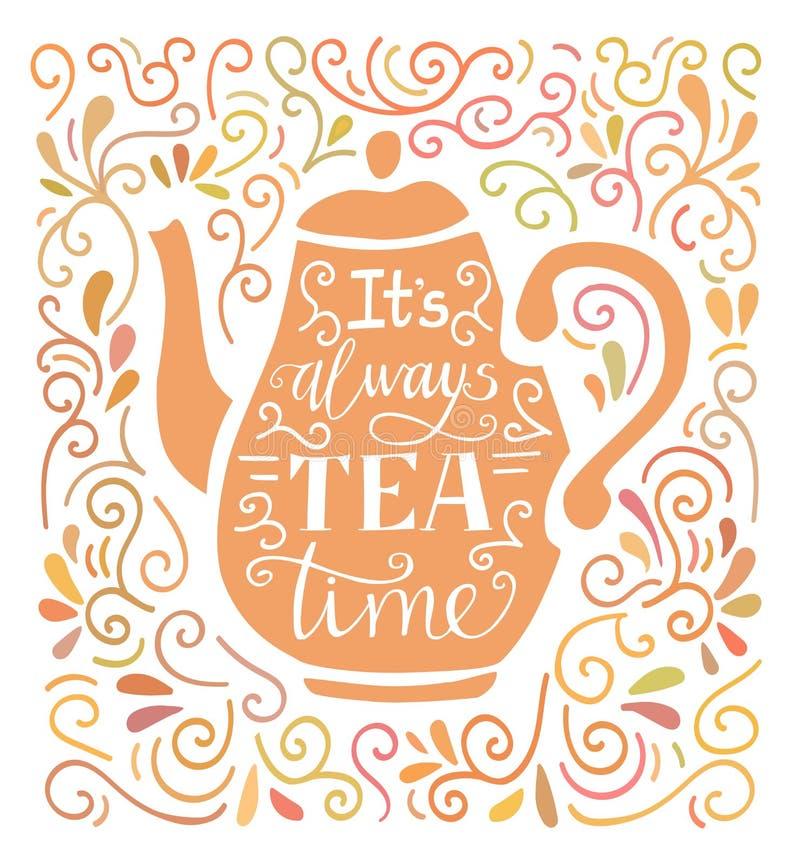 L'illustrazione di tempo del tè dell'iscrizione della mano di vettore con lo scarabocchio turbina royalty illustrazione gratis
