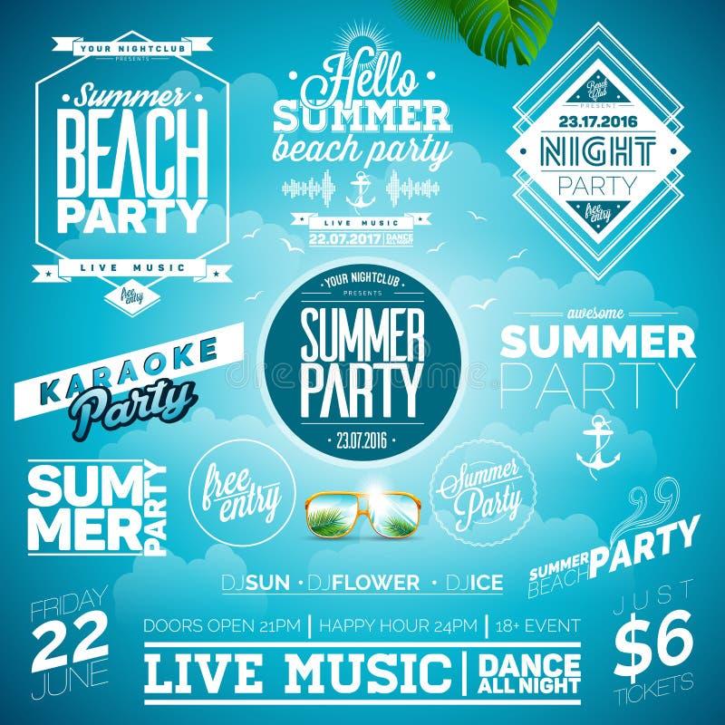 L'illustrazione di tipografia del partito della spiaggia dell'estate di vettore ha messo con i segni ed i simboli su fondo blu royalty illustrazione gratis