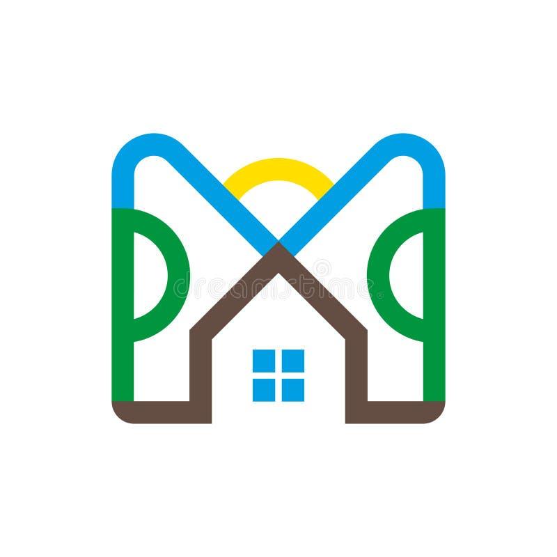 L'illustrazione di una casa di campagna nello stile moderno, firma dentro la linea stile di arte illustrazione vettoriale