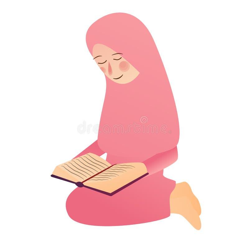 L'illustrazione di una ragazza musulmana ha letto il libro sacro di Islam di Corano illustrazione vettoriale