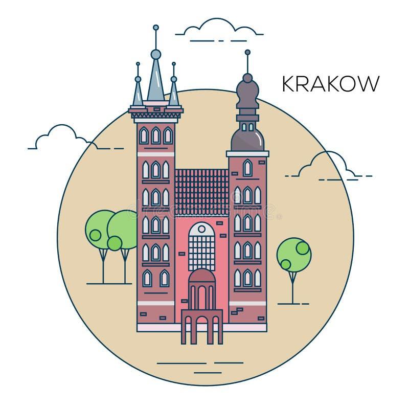 L'illustrazione di vecchia città in Polonia illustrazione vettoriale