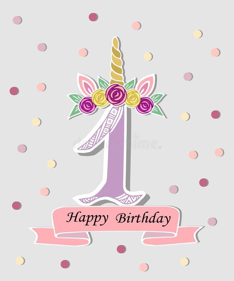 L'illustrazione di vettore con il numero uno, Unicorn Horn, le orecchie ed il fiore si avvolgono illustrazione vettoriale