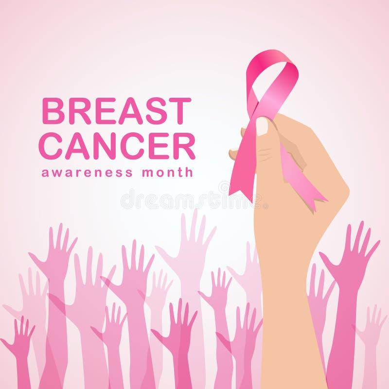 L'illustrazione di vettore di consapevolezza del cancro al seno con il nastro di rosa della tenuta della mano e del segno delle m illustrazione di stock