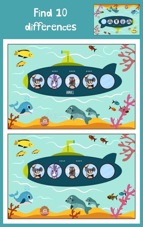 L'illustrazione di vettore del fumetto di istruzione per trovare 10 differenze nelle immagini dei bambini, il sottomarino gallegg illustrazione vettoriale