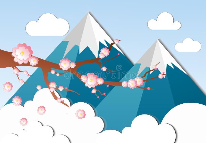 L'illustrazione di vettore del giapponese ciliegia-sakura su un fondo del vulcano del monte Fuji in carta ha tagliato lo stile illustrazione vettoriale