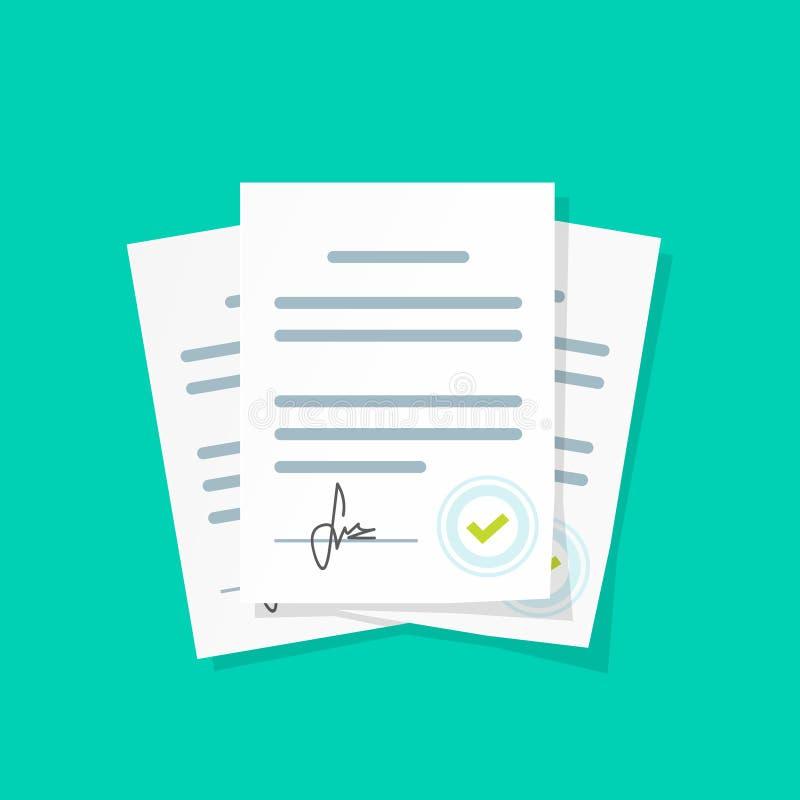 L'illustrazione di vettore del mucchio dei capitolati d'oneri, la pila di documento di accordi con la firma e l'approvazione timb illustrazione di stock