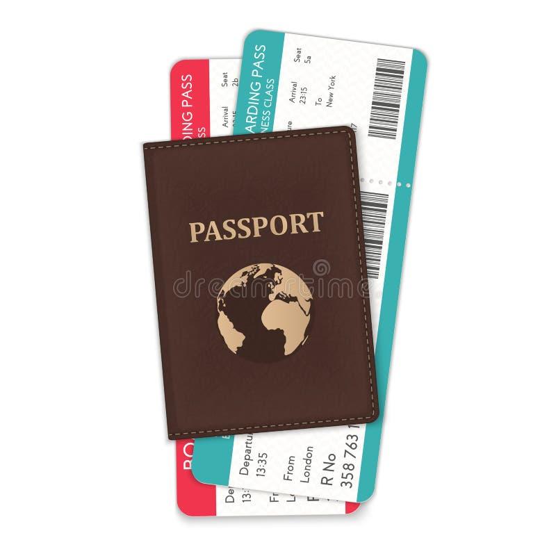 L'illustrazione di vettore del passaporto ed i passaggi di imbarco in hanno isolato su bianco illustrazione vettoriale
