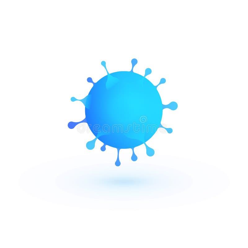 L'illustrazione di vettore del virus 3d, batteri blu sottrae l'icona, simbolo di infezione illustrazione di stock