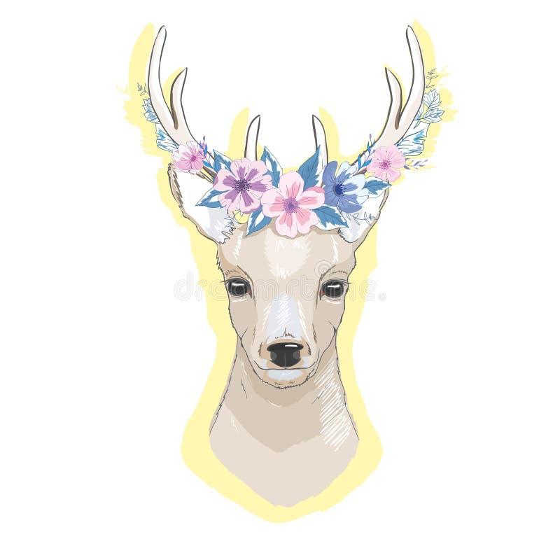 L'illustrazione di vettore dell'acquerello ha isolato i cervi, i grandi corni, i fiori e gli uccelli sui corni, fioritura della c royalty illustrazione gratis