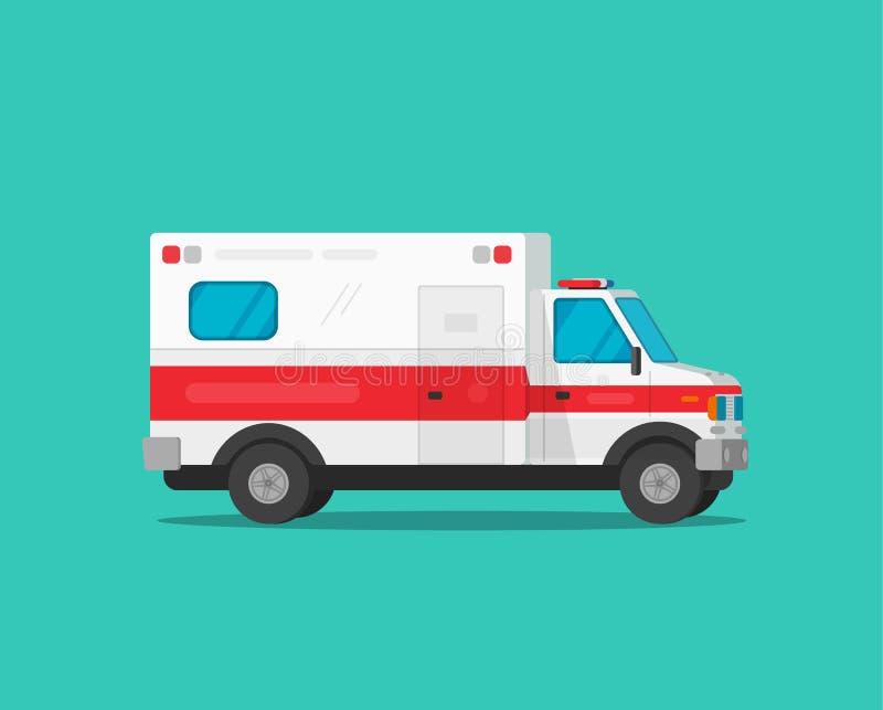 L'illustrazione di vettore dell'automobile di emergenza dell'ambulanza, auto medica del veicolo del fumetto piano ha isolato il c illustrazione di stock