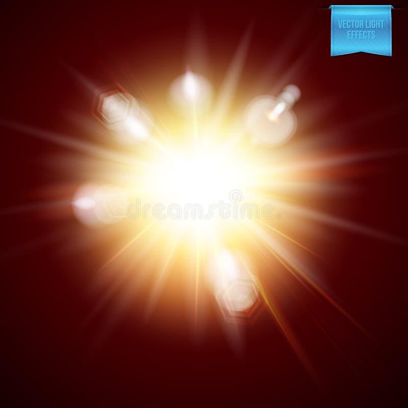 L'illustrazione di vettore dell'esplosivo ardente realistico ha scoppiato l'effetto della luce illustrazione vettoriale