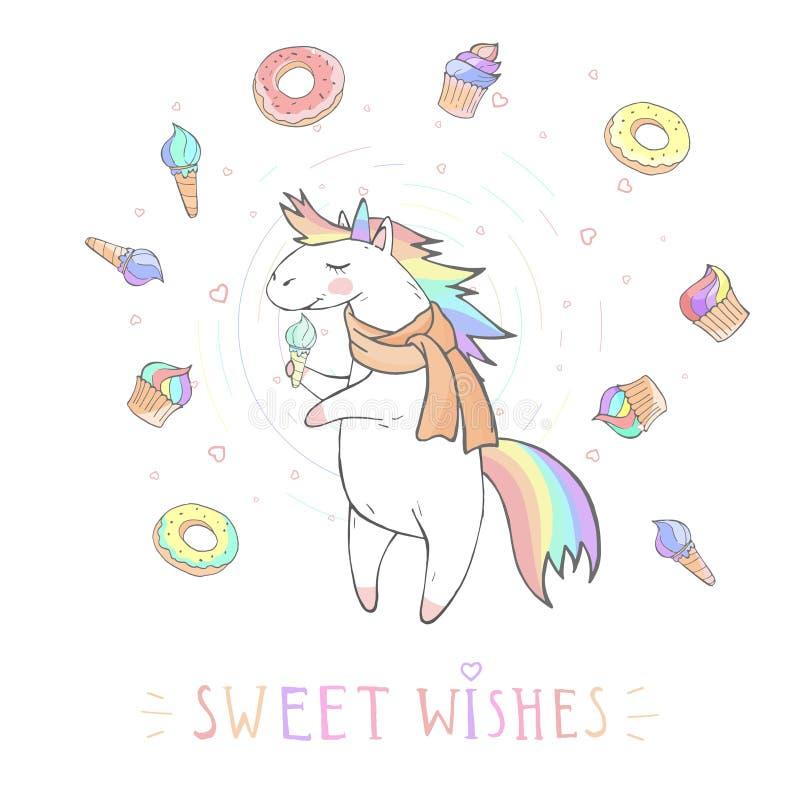 L'illustrazione di vettore dell'unicorno sveglio disegnato a mano con le stelle ed il DOLCE del †del testo «DESIDERA sopra con  illustrazione vettoriale