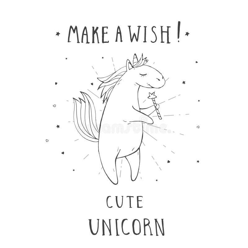 L'illustrazione di vettore dell'unicorno sveglio disegnato a mano con le stelle, i cuori, la bacchetta magica e il †del testo « royalty illustrazione gratis