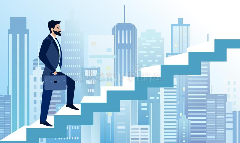 L'illustrazione di vettore dell'uomo aumenta ai punti di affari per riuscire sul grande fondo moderno della città Un uomo d'affar illustrazione di stock
